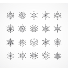 Snowlakes set geometric Christmas pattern vector image