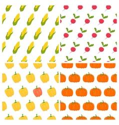 Vegetables seamless patterns set Healthy food vector image