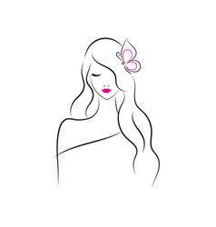 beautiful fashion model with long hair vector image vector image