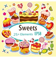 Beautiful Sticker Set Holiday Sweets vector image