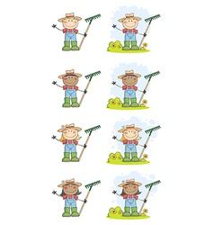 Farmer Kids With Rakes vector image