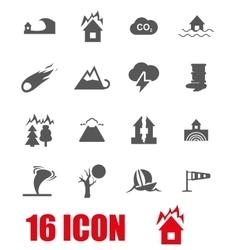 grey disaster icon set vector image
