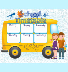 school bus image with timetable vector image vector image