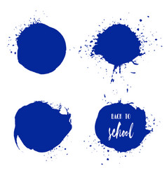 set of back to school ink watercolor blue splashes vector image