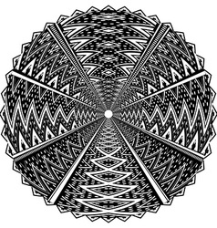 Black and white round ornament vector image