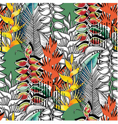 Combined heliconia pattern vector