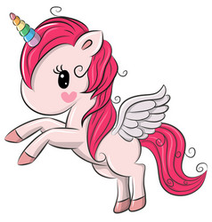 Cute cartoon unicorn on a white background vector
