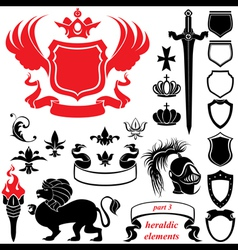 Set of heraldic silhouettes elements vector image