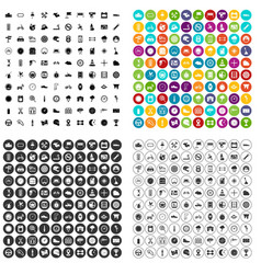 100 motorsport icons set variant vector