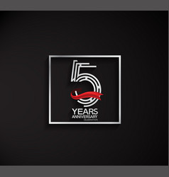 5 years anniversary logotype with square silver vector