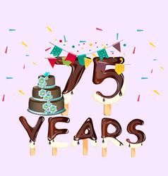 75 years happy birthday card vector image