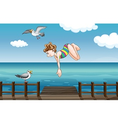 A young girl diving vector