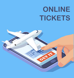 Airline online tickets mobile app isometric vector