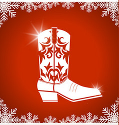 American christmas card with cowboy boot on red vector image