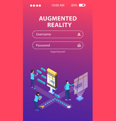 Augmented reality isometric background vector