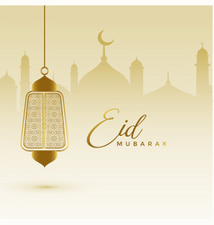 awesome eid festival card with hanging lamp vector image