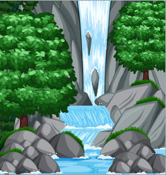 Background scene with water and stream vector