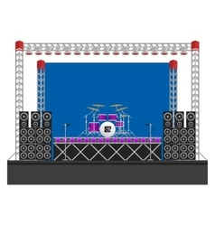 Big Concert Stage with Speakers and Drums vector