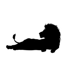 black silhouette lying lion vector image