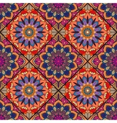 Boho tile flower squares colorful red vector