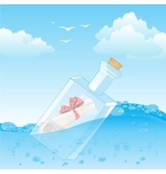 Bottle with note in ocean vector