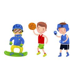 Boys athletes in uniform on a vector