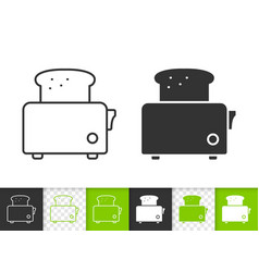 bread toaster simple black line icon vector image