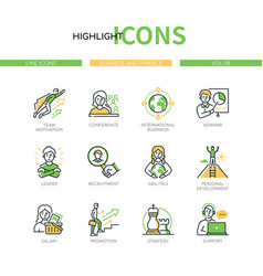 Business and finance - line design style icons set vector