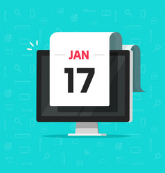 calendar date on computer screen vector image