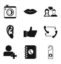 Call recording icons set simple style vector