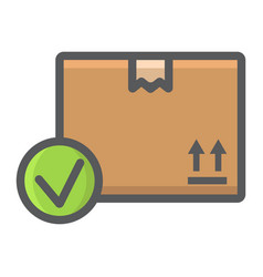 Carton box with check mark filled outline icon vector