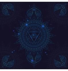 Chakra vishuddha on a dark blue background vector