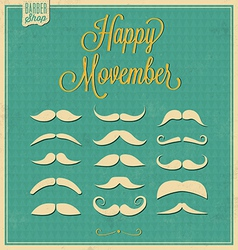 Collection of Mustache Retro Design vector image