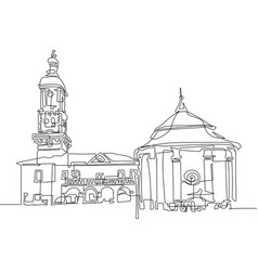 Continuous one line drawing of town hall and vector