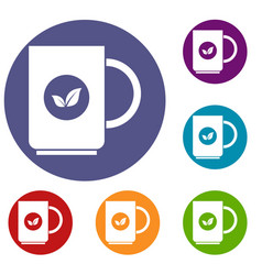 cup of tea icons set vector image