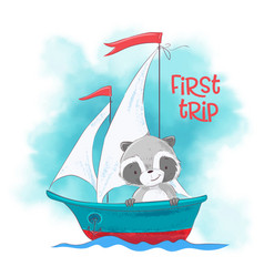 cute cartoon raccoon on a sailing ship vector image