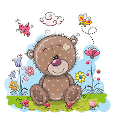 Cute cartoon teddy bear with flowers vector