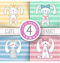 cute little princess - cartoon rabbit vector image
