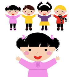 Cute school kids in row holding hands vector image