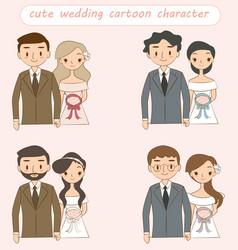 Cute wedding couple cartoon character collection vector