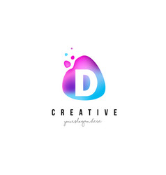 d letter dots logo design with oval shape vector image