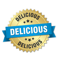 Delicious 3d gold badge with blue ribbon vector