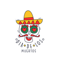 Dia de los muertos logo traditional mexican day vector
