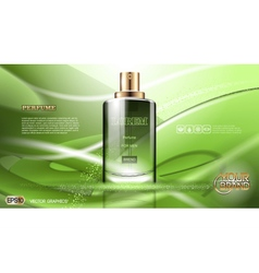 Digital green glass perfume for men vector image