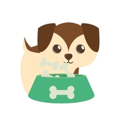 Dog little brown bowl food b print vector