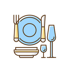 eating utensils rgb color icon vector image