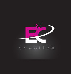 ec e c creative letters design with white pink vector image