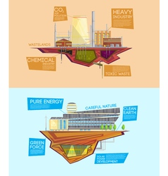 Eco waste industry advantage flat banners vector