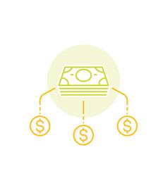 Financial diversification money split line icon vector