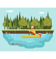 Fisherman with Fishing Rod in Boat Forest and vector image